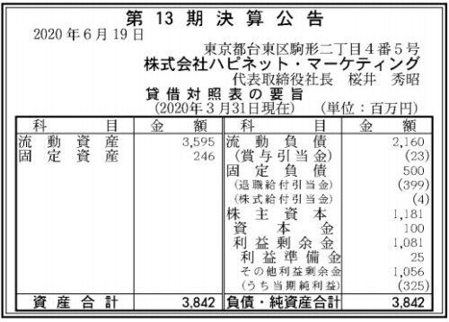ハピネットマーケティング第13期決算