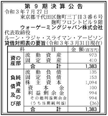 ウォーゲーミングジャパン第9期決算