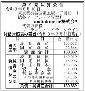 audiokinetic第9期決算