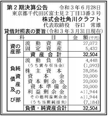 角川クラフト第2期決算